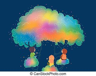 arc-en-ciel, gosses, stickman, couleur, arbre, illustration