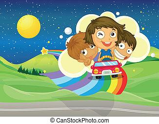 arc-en-ciel, gosses, voiture, sur, trois, équitation, dépassement