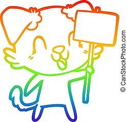 arc-en-ciel, gradient, chien, signe, rire, dessin ligne, dessin animé