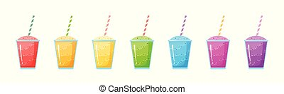 arc-en-ciel, graphique, naturel, smoothie, fruit, colection