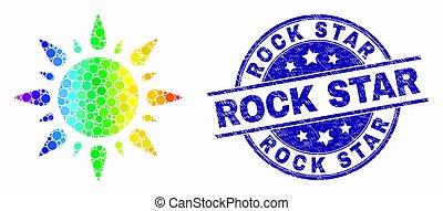 arc-en-ciel grunge, coloré, timbre, soleil, vecteur, pixelated, étoile pierre, cachet, icône