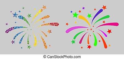 arc-en-ciel, icône, mosaïque, feux artifice, spheric, points