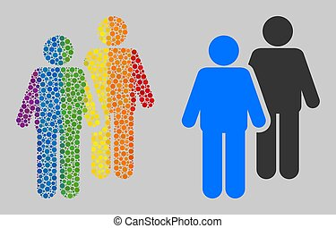 arc-en-ciel, icône, mosaïque, spheric, gay, personnes, points, couple