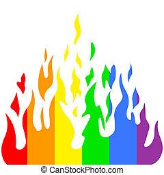 arc-en-ciel, illustration., brûler, brulure, vecteur, flamme, couleurs
