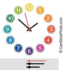 arc-en-ciel, indicateurs, figure, coloré, horloge