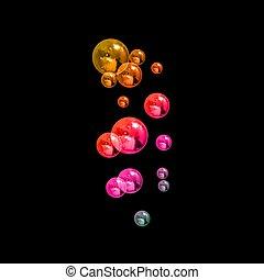 arc-en-ciel, isoalted, bulles, bubbles., lumière, réaliste, ...