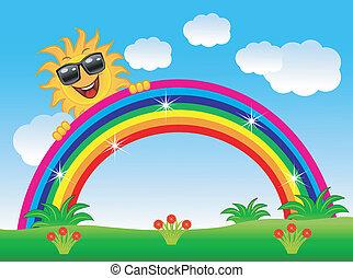 arc-en-ciel, jette coup oeil, dehors, joyeux, soleil