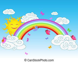 arc-en-ciel, jour ensoleillé, coloré
