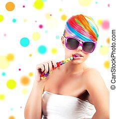 arc-en-ciel, maquillage, mode, coloré