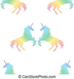 arc-en-ciel, modèle, couple, unicorns, seamless, illustration, arrière-plan., vecteur, texture, licorne, blanc