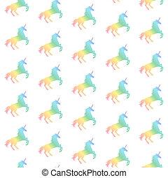 arc-en-ciel, modèle, unicorns, seamless, illustration, arrière-plan., vecteur, texture, licorne, blanc