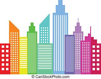 arc-en-ciel, moderne, coloré, ville