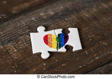 arc-en-ciel, morceaux puzzle, former, coeur