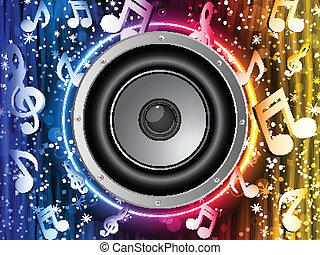 arc-en-ciel, notes, néon, disco, orateur, musique, cercle