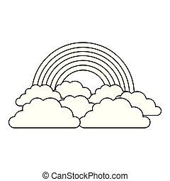 arc-en-ciel, nuage ciel