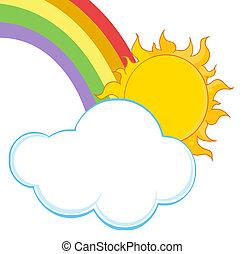 arc-en-ciel, nuage, soleil