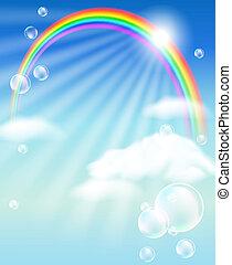 arc-en-ciel, nuages, bulles