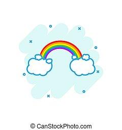 arc-en-ciel, nuages, coloré, business, concept., illustration, signe, éclaboussure, pictogram., temps, comique, style., dessin animé, icône
