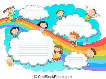 arc-en-ciel, nuages, filles, ciel, illustration, garçons, jouer
