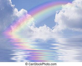 arc-en-ciel, nuages, reflec