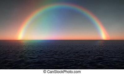 arc-en-ciel, océan, (1028), vagues