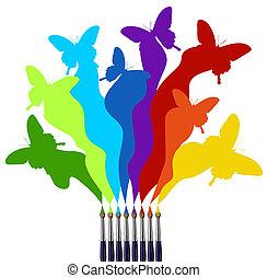 arc-en-ciel, papillons, brosses, coloré, peinture