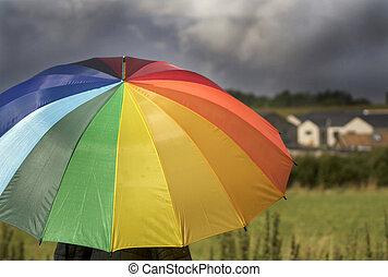 arc-en-ciel, parapluie, coloré, personne, orage, sous, ...