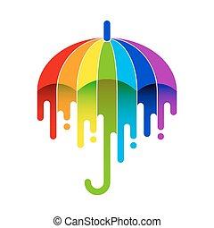 arc-en-ciel, parapluie, crosse