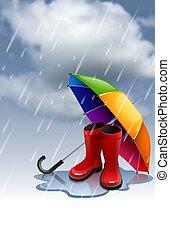 arc-en-ciel, parapluie, gumboots, automne, fond, rouges