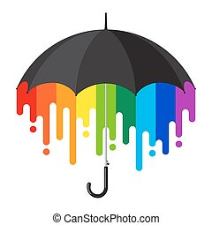 arc-en-ciel, parapluie, noir