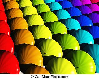 arc-en-ciel, parapluies, hues