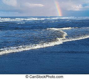 arc-en-ciel, partiel, rupture, océan, rivage, fond, vagues