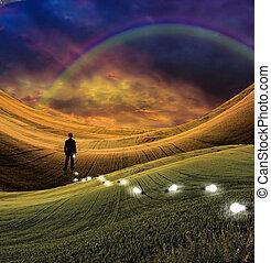 arc-en-ciel, paysage, homme