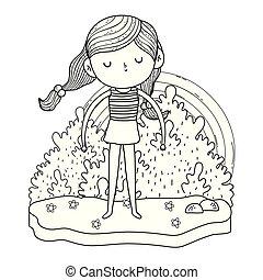 arc-en-ciel, peu, jardin, girl