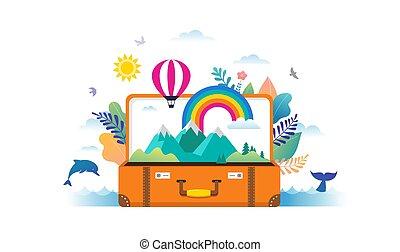 arc-en-ciel, plat, gens, moderne, scène, illustration, voyage, miniature, vecteur, aventure, valise, feuilles, ouvert, style., tourisme