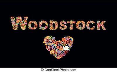 arc-en-ciel, puissance fleur, hippie, coloré, lettrage, affiche, woodstock, impression, forme coeur, papier, conception, t, fond, fête, noir, fleurs, colombe, autre, chemise