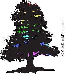 arc-en-ciel, silhouette, coloré, arbre, isolé, color., clair, arrière-plan noir