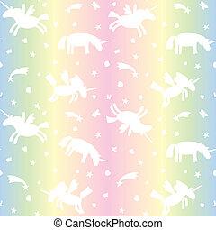 arc-en-ciel, silhouette, modèle, unicorns, seamless, illustration, arrière-plan., vecteur, texture, licorne, blanc, dessin animé