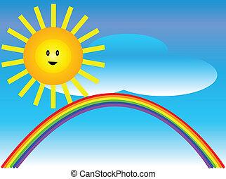 arc-en-ciel, soleil