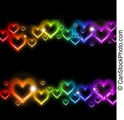 arc-en-ciel, sparkles., vecteur, frontière, coeur