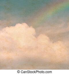 arc-en-ciel, stains., nuages, vendange, ciel, papier, fond, textured, grunge
