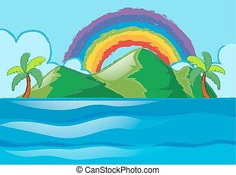 arc-en-ciel, sur, scène, île