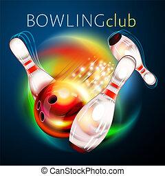 arc-en-ciel, sur, voler, balle, bowling