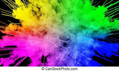 arc-en-ciel, tout, lent, trails., 71, peintures, feux artifice, motion., fond, juteux, isolé, couleurs, air, noir, poudre, ink., explosion, créatif, coloré, ou, gentil
