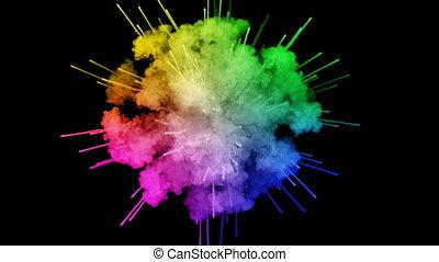 arc-en-ciel, tout, lent, trails., fond, 10, peintures, feux artifice, motion., juteux, isolé, couleurs, air, noir, poudre, ink., explosion, créatif, coloré, ou, gentil