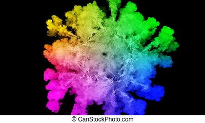 arc-en-ciel, tout, lent, trails., fond, 25, peintures, feux artifice, motion., juteux, isolé, couleurs, air, noir, poudre, ink., explosion, créatif, coloré, ou, gentil