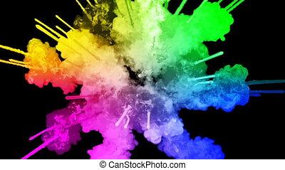 arc-en-ciel, tout, lent, trails., fond, 39, feux artifice, motion., juteux, isolé, couleurs, air, noir, poudre, ink., peintures, explosion, créatif, coloré, ou, gentil