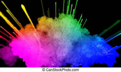 arc-en-ciel, tout, lent, trails., fond, 48, peintures, feux artifice, motion., juteux, isolé, couleurs, air, noir, poudre, ink., explosion, créatif, coloré, ou, gentil