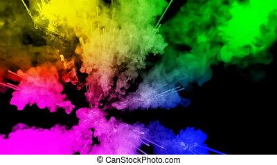 arc-en-ciel, tout, lent, trails., fond, air, peintures, feux artifice, motion., juteux, isolé, couleurs, 26, noir, poudre, ink., explosion, créatif, coloré, ou, gentil
