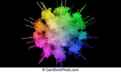 arc-en-ciel, tout, lent, trails., fond, air, peintures, feux artifice, motion., juteux, isolé, couleurs, 12, noir, poudre, ink., explosion, créatif, coloré, ou, gentil